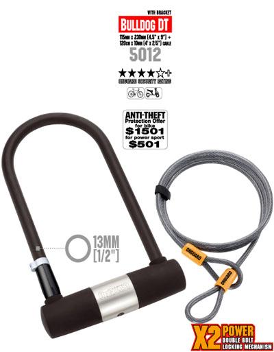 police bike store onguard bulldog dt bike lock u lock and cable combo. Black Bedroom Furniture Sets. Home Design Ideas
