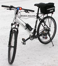 Police bike parked on ica and snow in ALaska