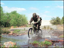 Military Stream Crossing on Mountain Bike